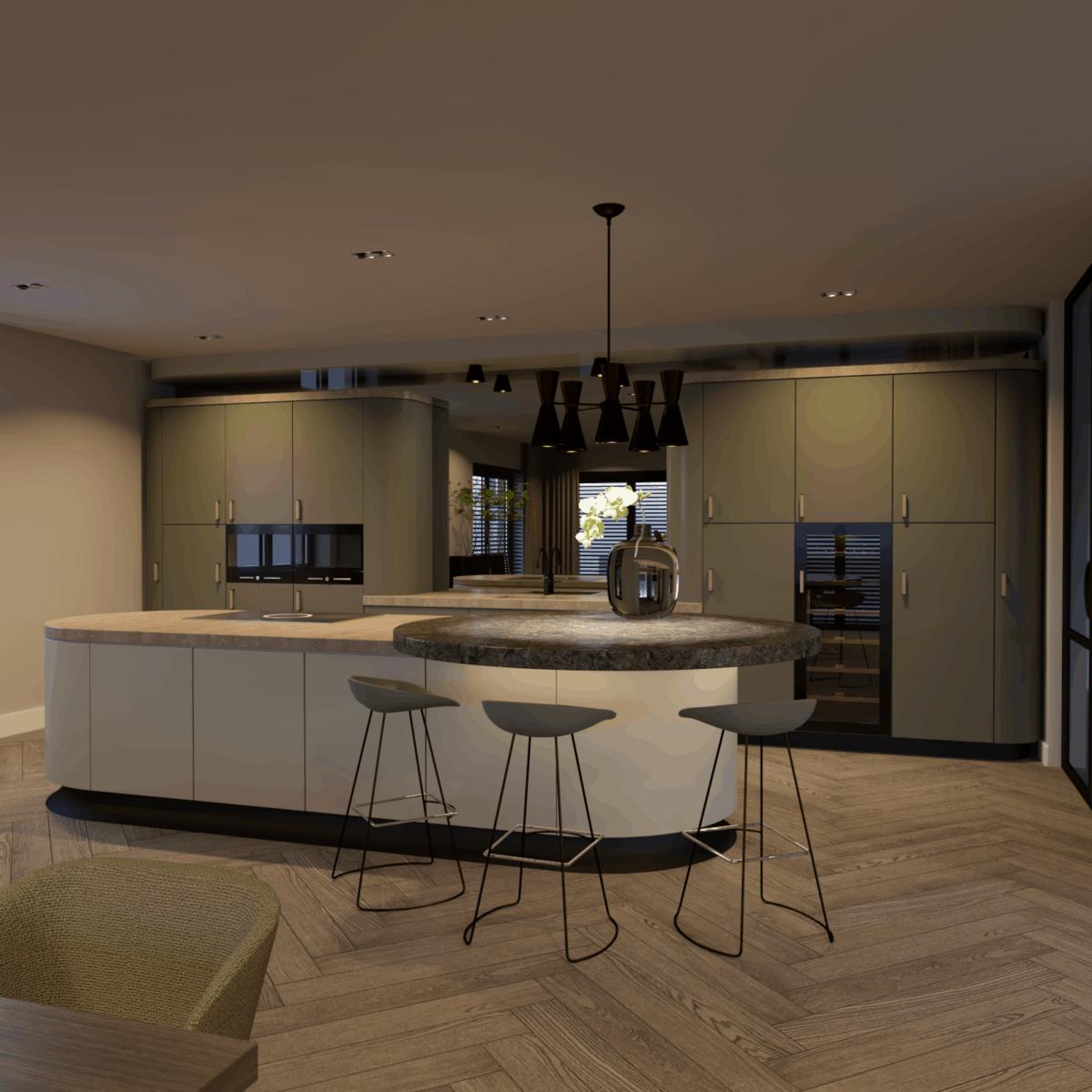 Zijaanzicht van een keuken in penthouse interieur