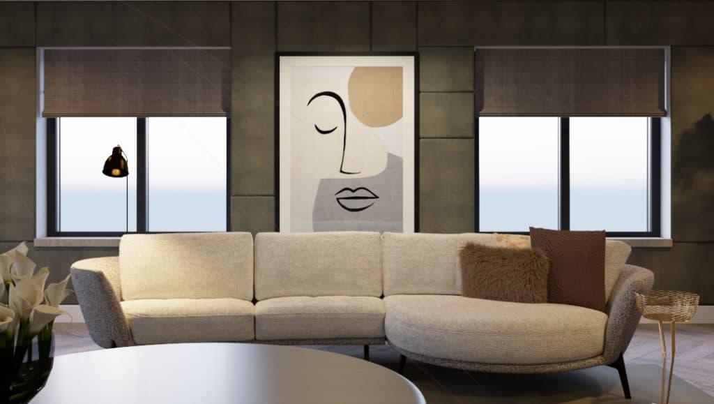 Interieurstyling afbeelding met een vooraanzicht van een bankstel in een interieur
