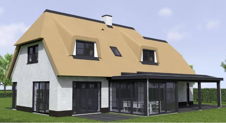 3d visualisatie van een rietgedekte villa