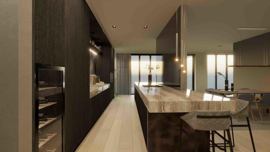 Interieurontwerp en 3d visualisatie van een maatwerk keuken